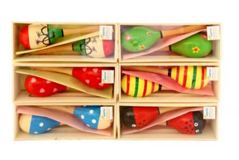 Wooden maraca pair in wooden gift crate