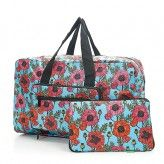 Eco Chic Light Blue Poppies Holdall Bag