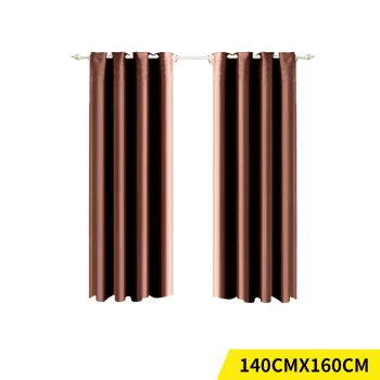 2x Blockout 3 Layered Eyelet Fabric Curtain 140x160cm in Chocolate
