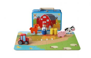 Farm Playset with Puzzle in Tin