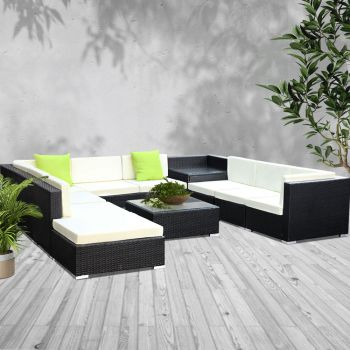 Outdoor Lounge Setting Furniture Sofa Set 11PC Wicker Rattan Garden Patio Pool Lounger Cushions Seat Couch Table Gardeon