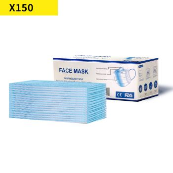 150pcs Mask Disposable Face Anti Dust PM2.5 Respirator 3 Layers