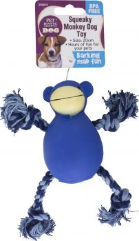 Dog Toy With Rope Squeaky Monkey 20cm