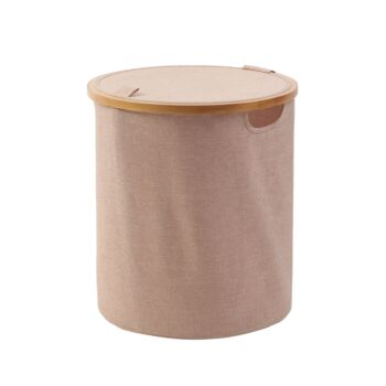 Sherwood Home Short Round Linen and Bamboo Laundry Hamper with Cover Rose Gold - 38x38x43cm