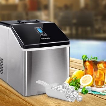 Devanti 3.2L Portable Ice Maker Commercial Making Ice Cube Machine Stainless Steel Silver