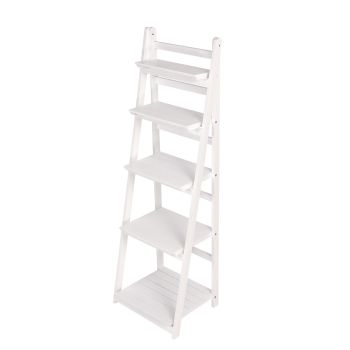 Levede 5 Tier Ladder Shelf Stand for Storage Book Shelve Display Rack in White