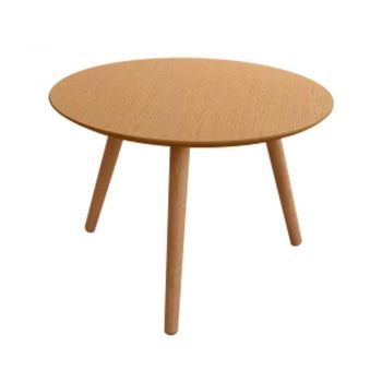 Art Round Modern Scandinavian Wooden Coffee Table - Oak