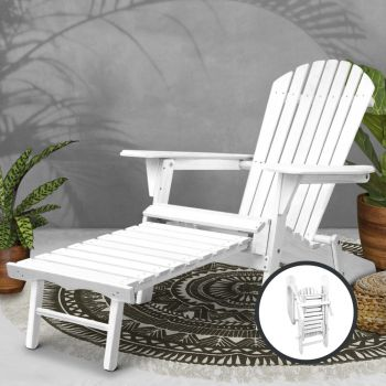 Outdoor Chair Beach Chairs Wooden Adirondack Sun Lounge Lounger Day Bed Patio Garden Furniture Foldable Ottoman Gardeon