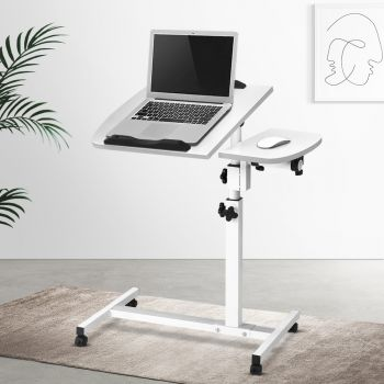Laptop Desk Computer Table Mobile Bed Bedside Stand Height Adjustable Sit Stand Desks iPad PC Notebook Cooling Fan Study Office Portable w/ Wheels White