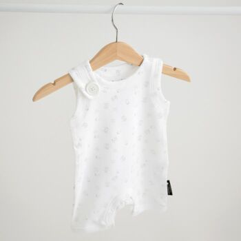 Romper, white with print, shoulder button and back pocket detail