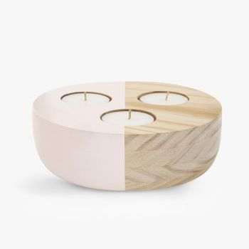 Large Wooden Bowl Maxi Tea Light Holder - Pink