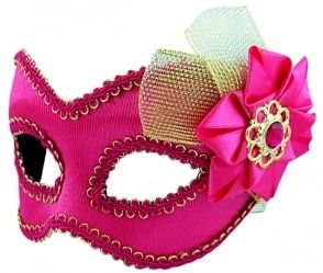 Masquerade Mask - Pink w/Tulle & Bow
