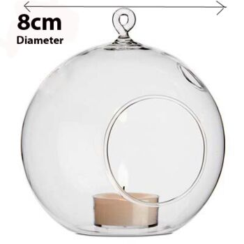 20 Pack- 8cm Dia Hanging Clear Glass Ball Orb Candle Tealight Holder - Sphere Globe Bauble Decoration