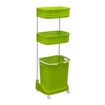 3-Tier Laundary Clothes Basket Hamper with Wheels in Green