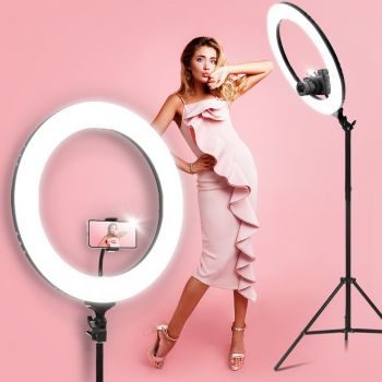 "Embellir 19"" LED Ring Light 6500K 5800LM Dimmable Diva Stand MakeUp Studio Video Black"