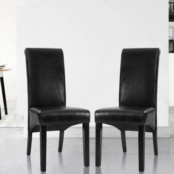 2x Dining Chairs PU Leather Pad High Back Chair Wood Kitchen Cafe Black