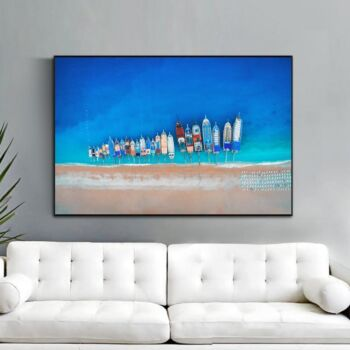 Aerial View Of Colourful Boats, Ocean And Beach Print Wall Art