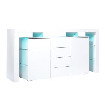 Levede Buffet Sideboard Cabinet Storage Modern High Gloss Cupboard Drawers White