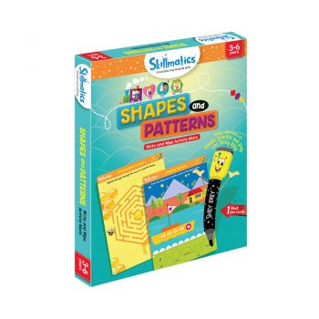 Skillmatics Shapes And Patterns - Kids Foundational Skills - Write & Wipe Educational Games For Children