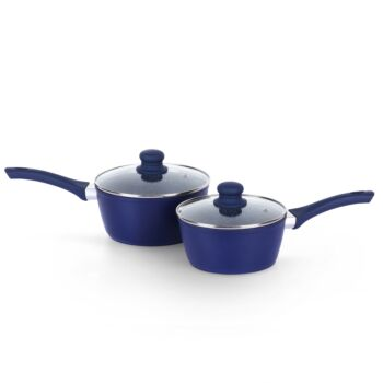 Gourmet Kitchen 2 Piece Forged Marble Coated Saucepans -Blue - 18cm and 20cm