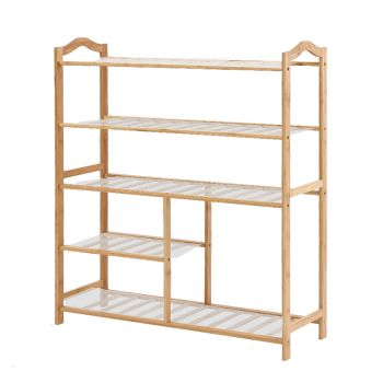 Levede Bamboo Shoe Rack Wooden Organizer 5 Tiers Layers 80cm