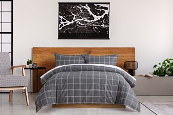 Dreamaker 250Tc Printed Cotton Sateen Quilt Cover Set Single Bed - Grid