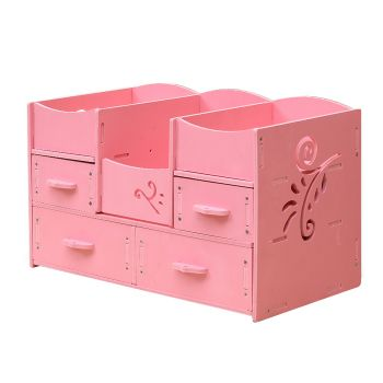 DIY Cosmetic Jewellery Makeup Holder Storage with Drawers in Pink