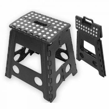 Folding Step Stool Portable Plastic Foldable Seat Chairs Store Flat Ladder