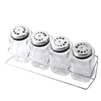 Gourmet Kitchen 4 Glass Jar Spice Stainless Steel Rack Set - Clear
