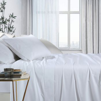 Single Bed 1000TC Bamboo Cotton Bed Sheet Sets in White