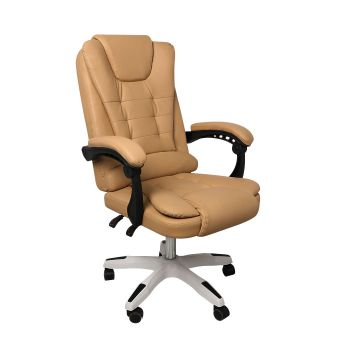 Exective Gaming Chair PU Leather Office Computer Seat Recliner in Brown