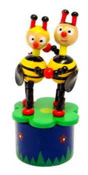 Wooden Push up Toy - Two Bees