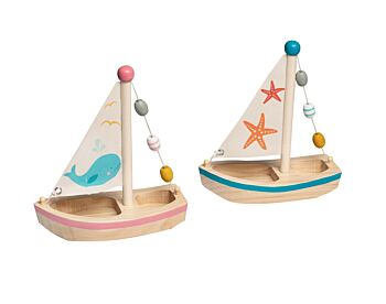 PRICE FOR 2 ASSORTED CALM & BREEZY WOODEN SAILBOAT