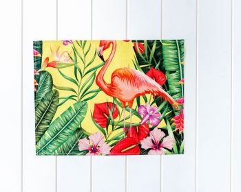 Placemat - Linen Look - Jungle Flamingo - 42x33cm (MIN 5)