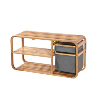 Sherwood Home Bamboo Shoe Rack Storage Bench - Natural Bamboo - 90x30x44cm