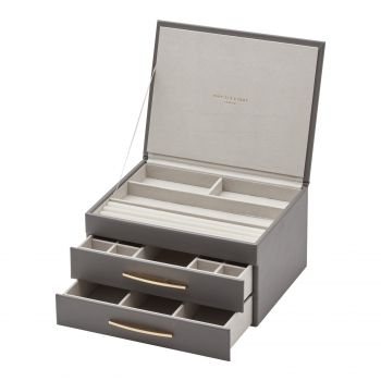 STACEY Charcoal Grey Large Jewellery Box