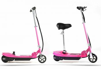Monvelo Folding Electric Scooter LED Portable Commuter Adults Kids e-Bike Pink