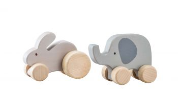 Wooden Wheelie Rabbit & Elephant