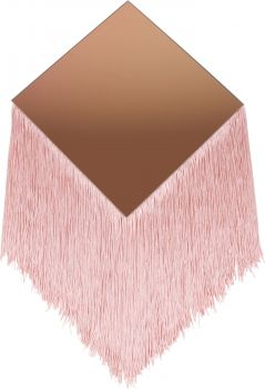 DIAMOND FRINGE MIRROR BLUSH TINTED 30CM DIA 30CM FRINGE