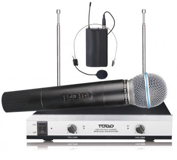 Wireless Microphone Vhf Dual Channel Handheld + Headset Mic Tjp-Hl61