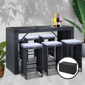 Outdoor Bar Table Outdoor Furniture Dining Table Stools 6 Chairs Patio Set Lounge Setting Gardeon