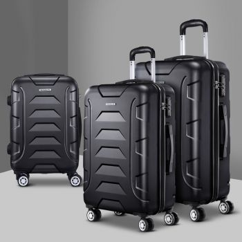 Wanderlite 3PC PP Luggage Sets Suitcases TSA Travel Lightweight Hard Case Black