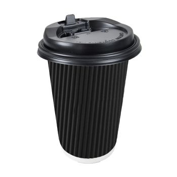 Disposable Takeaway Coffee Cups With Lids Black 50pcs 16oz