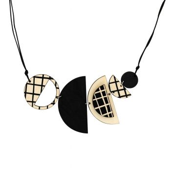 Semi-circle cross wooden statement necklace in black