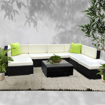 Outdoor Lounge Setting Furniture Sofa Bed 8PC Set Wicker Rattan Couch w/ Cover Garden Patio Pool Lounger Cushions Seat Table Gardeon
