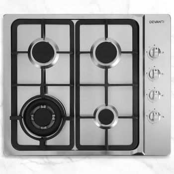 Gas Cooktop 60cm 4 Burner Kitchen Stove Hob Cook Top Cooker Natural/LPG Gas w/ Conversion Kit Stainless Steel