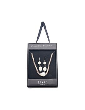 Barcs Australia Freshwater Pearl And Crystal Women's Latte and Ivory Necklace And Earring Set