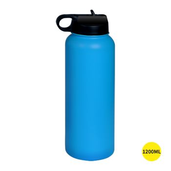Stainless Steel Insulated Thermos Water Bottle with Straw in Black
