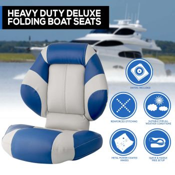 New Latest Model Boat Seat Deluxe Boat Folding w/ Swivels All Weather