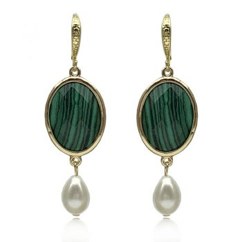 Exquisite Natural Oval Facet Cut Synthetic Malachite & Teardop Glass Pearl Drop Earrings